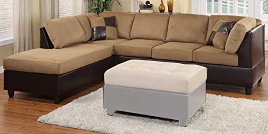 Homelegance Comfort Living Reversible Sectional - Brown Finish 9909BR-SECT