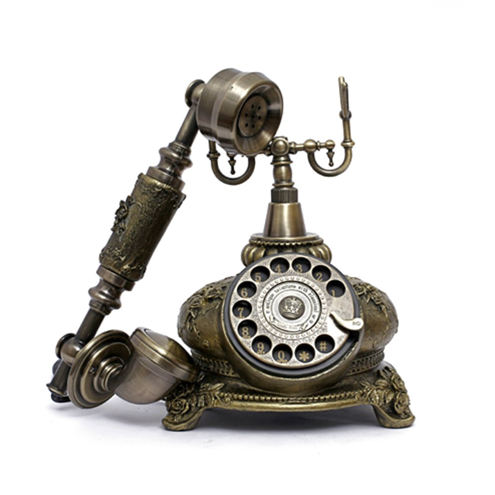 LNC Retro Vintage Antique Style Rotary Dial Desk Telephone Phone Home Living Room Decor 1
