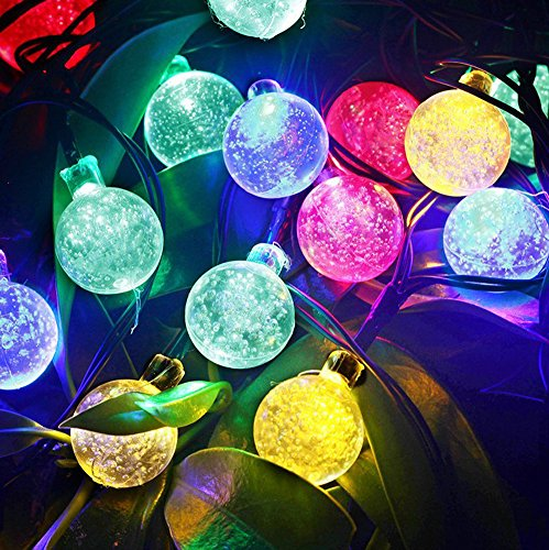 Amars(Tm) 16Ft/4.8M 20Leds Ball Shaped Fairy Lights Solar Powered Christmas Xmas Party Festival Lights Decorations Waterproof Led String Eco-Friendly Energy Saving Light Kit For Outdoor Garden Home Multicolors