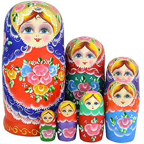 Winterworm-Set-of-7-Pieces-Cutie-Beautiful-Lovely-Wood-Wooden-Red-Flower-Girl-With-Blue-Scarf-Russian-Nesting-Dolls-Matryoshka-Wishing-Dolls-Toy-Holiday-Birthday-Christmas-Gift-and-Home-Room-Decoratio