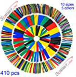 SummitLink® 410 Pcs Assorted Heat Shrink Tube 5 Colors 10 Sizes Tubing Wrap Sleeve Set Combo