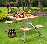 Folding Camping Wooden Portable Picnic Table Set Outdoor Case Seat