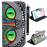 Galaxy s6 Edge case,Samsung Galaxy S 6 Edge Wallet Case Cover, Samsung Galaxy S6 edge Protective Case 2015 release,Vogue shop New Fashion Pineapple Pattern[Executive Wallet Kickstand][Stand Feature] **NEW** [Wallet S] [Black] Premium Synthetic Leather Flip Case Stand Cover with Card Slots [ID/Card Slot] and Note Holder fit for Samsung Galaxy S6 Edge with Stand All-around TPU Inner Case Skin Cover and Snap Button Closure Stylish Pattern Design for Galaxy S 6 Edge (Vogue shop-Owl eyes)