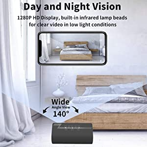 Hidden Camera, WAKYME ?Upgraded? Spy Camera Clock, 1280P Wireless Hidden Cameras Speaker, Mini WiFi Camera Wireless Security Cameras with Night Vision for Home and Office, Surveillance Camera Full HD