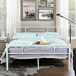 SimLife Metal Bed Frame Full Size 10 Legs Two Headboards Mattress Foundation Steel Platform Bed No Box Spring Needed White