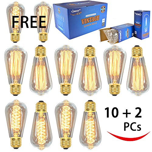12 Pack - 60W - ST64 - E26 - 7 Squirrel Cage and 5 Spiral - dimmable - Vintage Edison Light Bulbs - Clear Glass - industrial vintage style - Youngever Home - 2 FREE 0