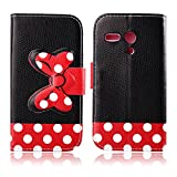 Fashion Youth Series Cute Design Black Red Bow Bowknot Polka Dot Wallet Flip Case Folio PU Leather Stand Cover with Card Slots for Motorola Moto G XT1032 + Free Lovely Gift