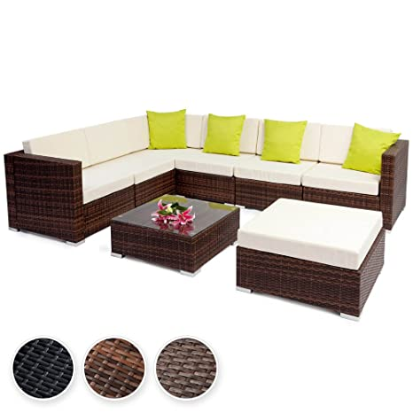 TecTake Aluminium luxury rattan garden furniture sofa set outdoor wicker incl. pillows and clamps - different colours - (Mixed Brown | no. 401816)