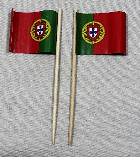 Party Lot de 50piques Drapeau du Portugal Papier Drapeaux de qualité professionnelle 8cm offsetdruck géant Sélection de Sa Propre production