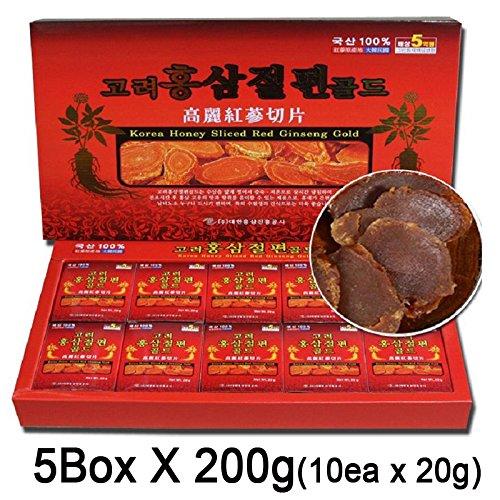 100% Korean Red Ginseng Root Honeyed Slices, 5 Box X 200G(10Ea X 20G), Saponin, Panax