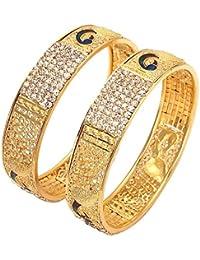 Geode Delight Gold Plated Peacock Design Kada Bangles For Women & Girls
