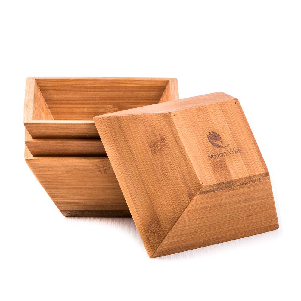 Wood Salad Bowl Set (Bamboo, Set Of 4)