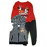 Little Girl's Minnie Mouse Hooded Vest, Shirt, and Leggings Set (2T) (Color: Black/Red, Tamaño: 2T)