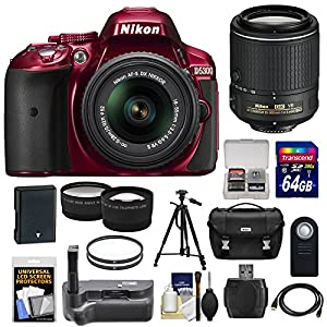 Nikon D5300 Digital SLR Camera & 18-55mm G VR II Lens (Red) with 55-200mm VR II Lens + 64GB Card + Battery + Case + Grip + Tele/Wide Lens Kit