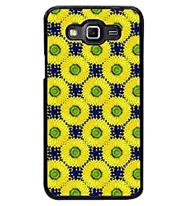 Printvisa Yellow And Blue Floral Pattern Back Case Cover for Samsung Galaxy Grand 3 G720