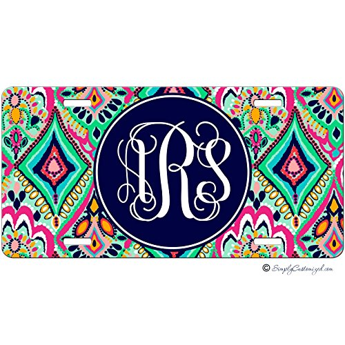 Personalized Car Tag - Auto Tag - Colorful Floral Jewels Monogrammed (Auto Car Tags compare prices)