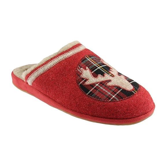 Pantoufles rouges motif Noel, chausson laine veritable et feutre