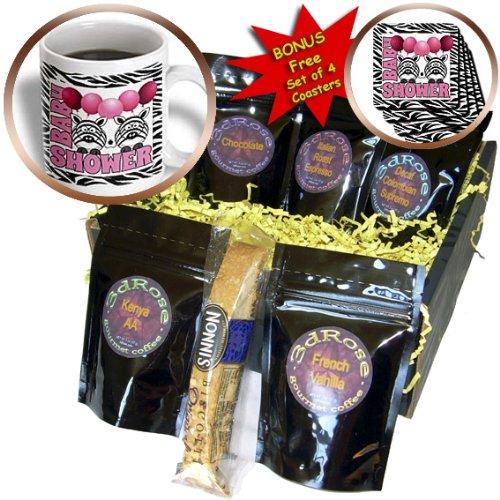 Cgb_173046_1 Doreen Erhardt Baby Designs - Twins Girls Zebra Print Baby Shower Jungle Theme In Pink - Coffee Gift Baskets - Coffee Gift Basket front-279086