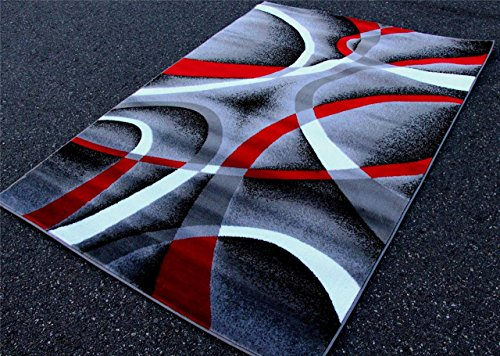 2305 gray black red white swirls 5 39 2 x7 39 2 modern abstract area rug carpet home garden decor rugs. Black Bedroom Furniture Sets. Home Design Ideas