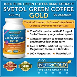 SVETOL Green Coffee Bean Extract, 90 Vegetarian Capsules (The ONLY