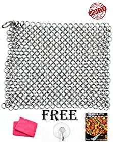 buy Premium Kitchen Cast Iron Cleaner Chainmail Scrubber Xl 8X6 Inch Stainless Steel Heavy Duty Cleaner Dutch Oven, Cast Iron Skillet Cookware Natural Handcrafted Free Bonus Ebook & Dry Cloth & Hook