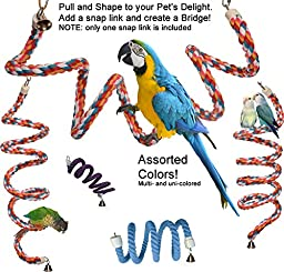 Rainbow Spiral Cotton Rope Bird Perch with Bell - A Favorite Toy for Many Parrots that also provides Great Exercise (Small) by Avianweb