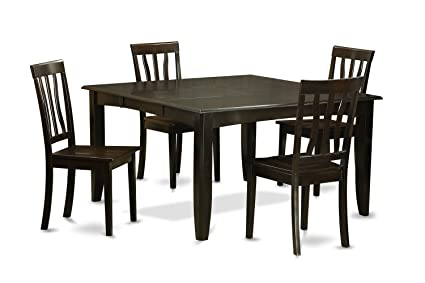 East West Furniture PFAN5-CAP-W 5-Piece Dining Table Set, Cappuccino Finish