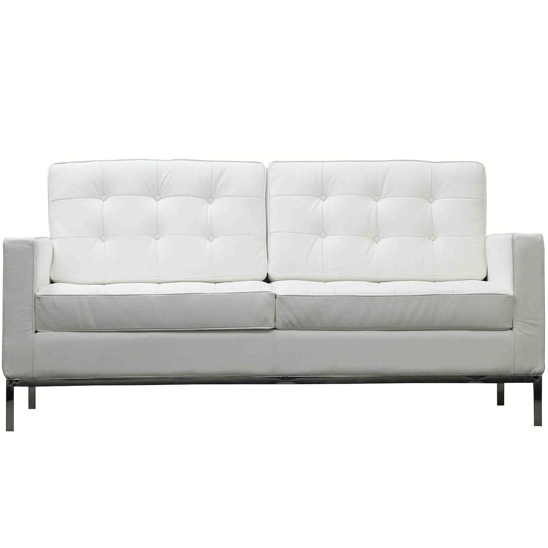 Upholstered Loft Loveseat in Genuine Leather (White)