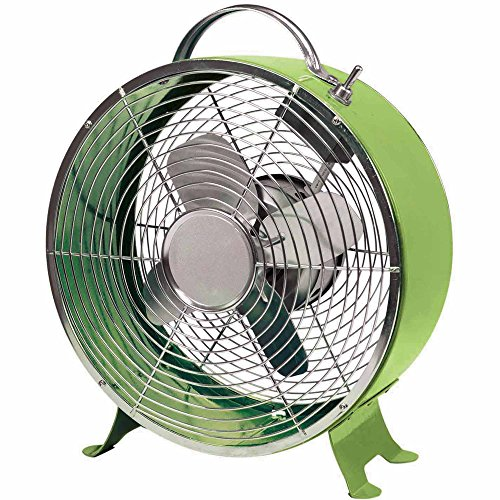 Comfort Zone 10 Inch Portable 4 Blade Quite Decorative Metal Drum Desk Fan, Green (Modern Desk Fan compare prices)