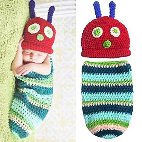Museya Cute Caterpillar Style Baby Infant Newborn Handmade Crochet Beanie Hat Clothes Baby Photograph Props Set
