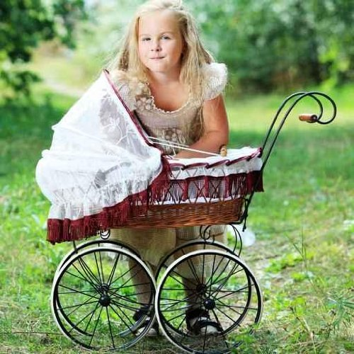 Sky Wall Decals Girl With Baby Buggy - 36 Inches X 36 Inches - Peel And Stick Removable Graphic