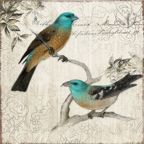 Yosemite Home Decor Yf7255B Nesting Ii Postage Stamp Linen Print Artwork