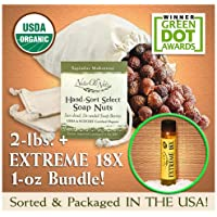 NaturOli Soap Nuts / Soap Berries. - TWO POUNDS! - 'Select' seedless 'USDA' Organic! - 100% Wild-crafted! - Rated 'best' eco-friendly, natural detergent. - Award winning! - Hypoallergenic & fragrance-free. ---- 'EXTREME 18X' BUNDLE!!
