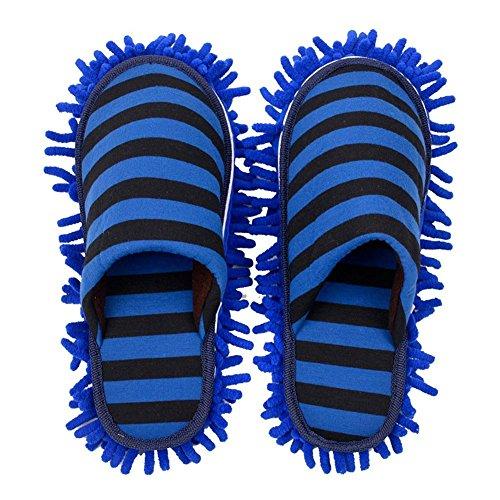Ciniglia Scarpe Pantofola strisce Blu scuro, pantofole con staccabile lavapavimenti Attrezzi per la pulizia utilizzate su pavimenti in legno, linoleum e piastrelle. 9 7/9