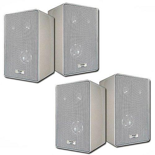 Acoustic Audio 251W Indoor Outdoor 3 Way Speakers 800 Watt White 2 Pair Pack New 251W-2Pr