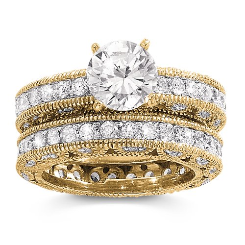 1 Carat CZ Round Solitaire Eternity Band 14K Gold Plated Sterling Silver
