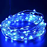 CrazyFire 33ft 10m Blue Christmas Lights LED String , 100 LEDs Blue Light Christmas Lights String For Chritsmas Wedding Halloween Patio Party Decorations Fairy String Lights with USB Interface