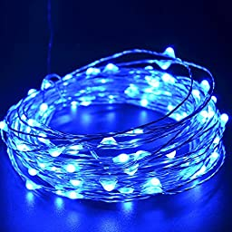 CrazyFire 33ft/10m Christmas LED String Light,100 LEDs Blue Light Christmas Copper Lights String For Christmas Wedding Halloween Patio Party Decorations Fairy String Lights with USB Interface