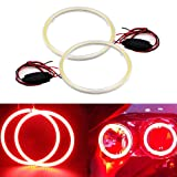 GrandviewTM 1 Pair (2pcs) Car Light LED Chips 70MM 60SMD Angel Eyes Halo Ring Headlight Warning Lamps 12V with Shell-Red