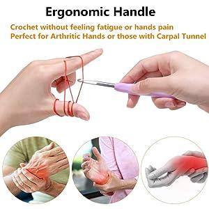 14 Sizes Crochet Hooks Set,2mm(B)-10mm(N) Ergonomic Crochet Hooks with Case for Arthritic Hands,Extra Long? Crochet Needles (Color: 14 Sizes)