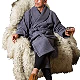 パジャマ屋 暖かい 冬用 あったか フリース ナイト ガウン メンズ 兼 レディース 男性 女性 兼用/クラッシィグレー・M~Lサイズ