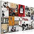 Bilder 90x60 cm - XXL Format - Fertig Aufgespannt - TOP - Vlies Leinwand - 1 Teilig - Wand Bild - Kunstdruck - Wandbild - Banksy 020115-59 90x60 cm