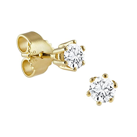 Diamond Line Women's Stud Earrings 375 Yellow Gold White Brilliant Cut Diamond (122102