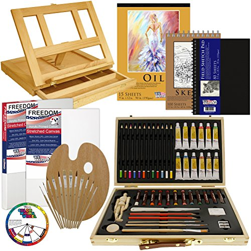 US Art Supply 66-Piece Custom Artist Oil Painting Set with, Wood Drawer Table Easel, 12-Tubes Oil Paint Colors, 12 Colored Pencils, 2 Graphite Pencils, 12 Oil Pastels, 2-each 9