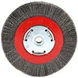 Forney 72751 Wire Bench Wheel Brush, Narrow Face Fine Crimped with 1/2-Inch and 5/8-Inch Arbor, 6-Inch-by-.008-Inch