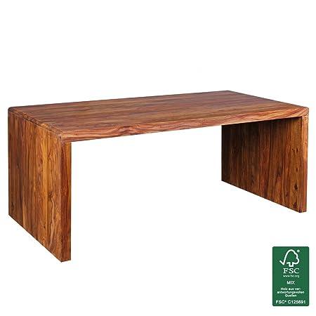 Wohnling Design Natur Sheesham Massivholz Schreibtisch 180 x 90 x 76 cm