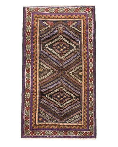 Hand-Knotted Vintage Tribal Wool Rug, Black/Khaki, 3′ 10″ x 6′ 7″