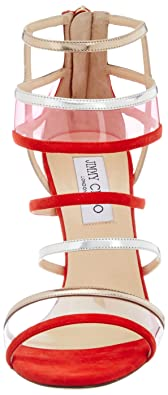 0d3aaf580b7f Buy Jimmy Choo for Vogue Women s Red Leather Fashion Sandals - 6 UK ...