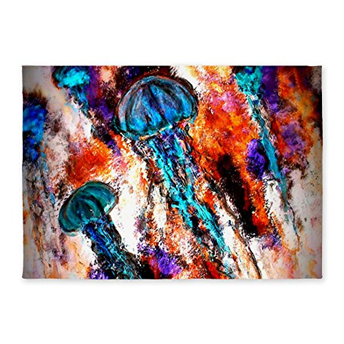 Cafepress Jellyfish Jump Electric 5'X7'Area Rug - Standard White