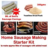 British Home Sausage making starter pack consisting of Yeastless Rusk, 28mm Sausage Skins, 3 Seasonings and full recipe instructions. Ideal for the beginner with their own manual or electric mincer with a sausage stuffer attachment. Boxed to make a uniqu